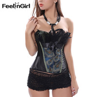 FeelinGirl Women Sexy Corset Bustier Top With Mini Skirt Fancy Dresses Costume Sexy Gothic Corsets Dress Underbust Corset A