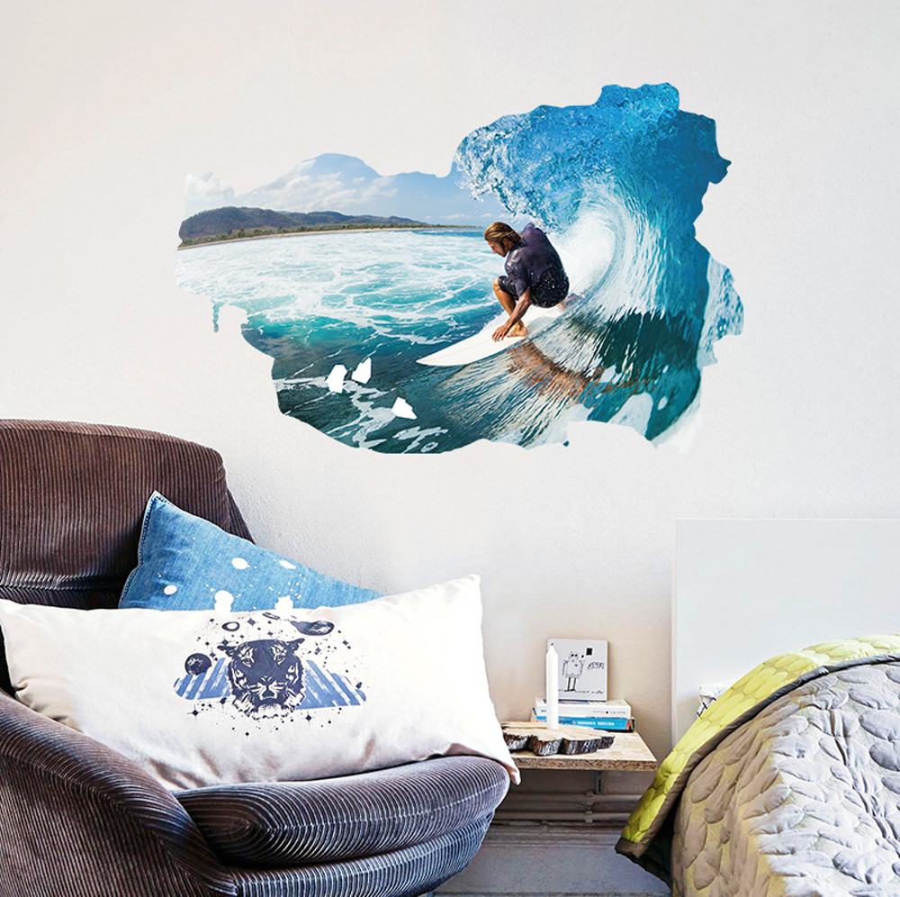 compare prices on surf room decor online shopping buy low price 3d surfing man wall stickers romance decoration wall poster home decor diy for living room and