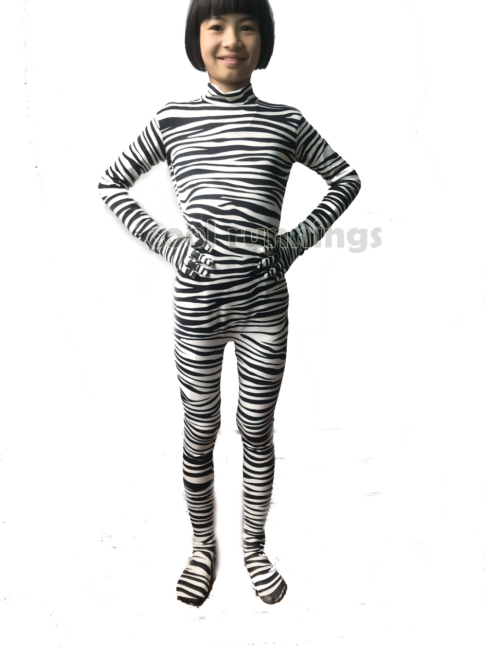 Kid Adult Zebra Stripe Pattern Full Body Unisex Lycra