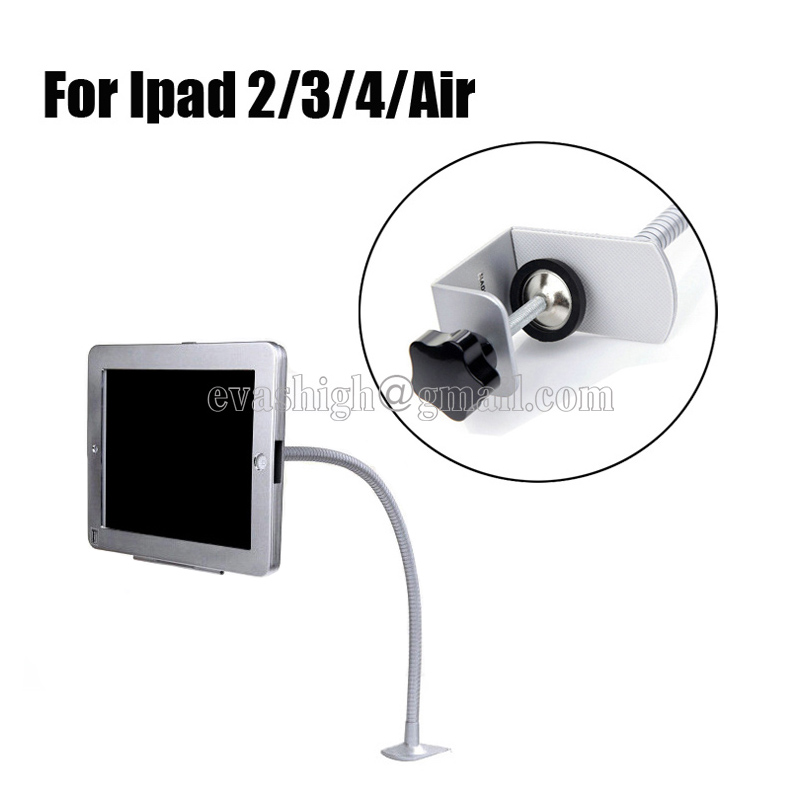 Flexible house ipad security lock tablet table mount flat pc display enclosure computer lock case with clamp for Ipad 2/3/4/air for ipad 2 3 4 air pro 9 7 table gooseneck lock mount display on restaurant security desktop holder mounting on shop