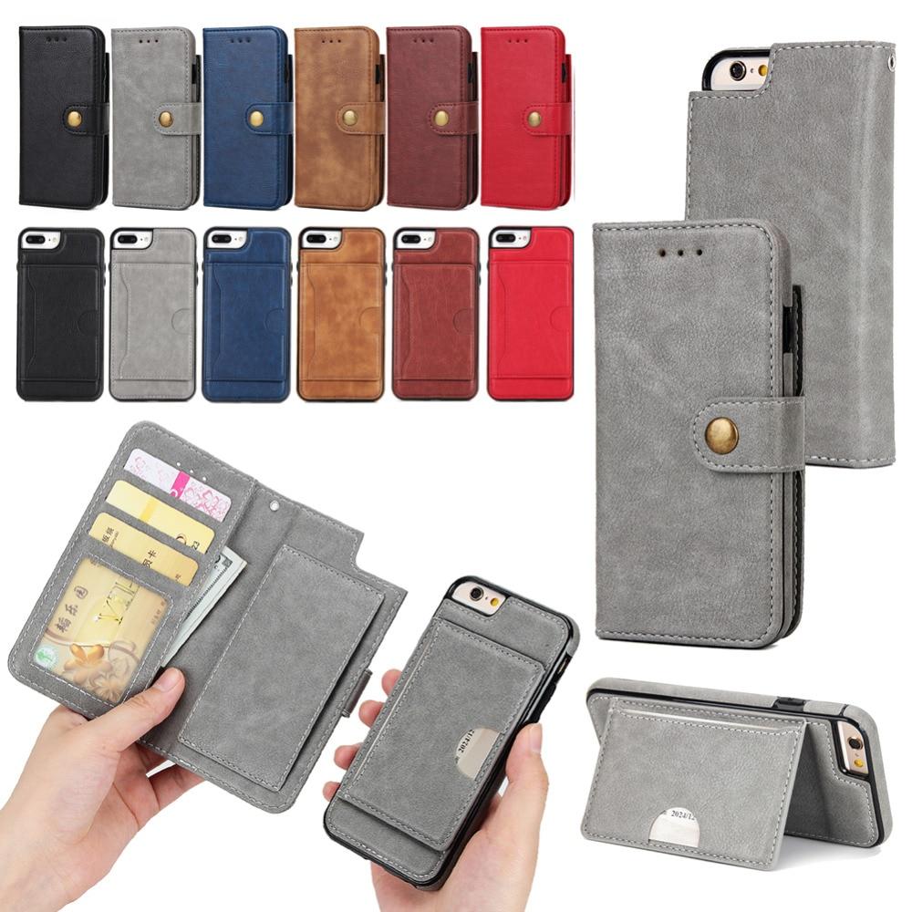 Прочный искусственная кожа флип Бумажник чехол для Apple iPhone 6/6 S чехол для телефона съемная 2-в- 1 Магнитная Стенд крышку с держателей карт