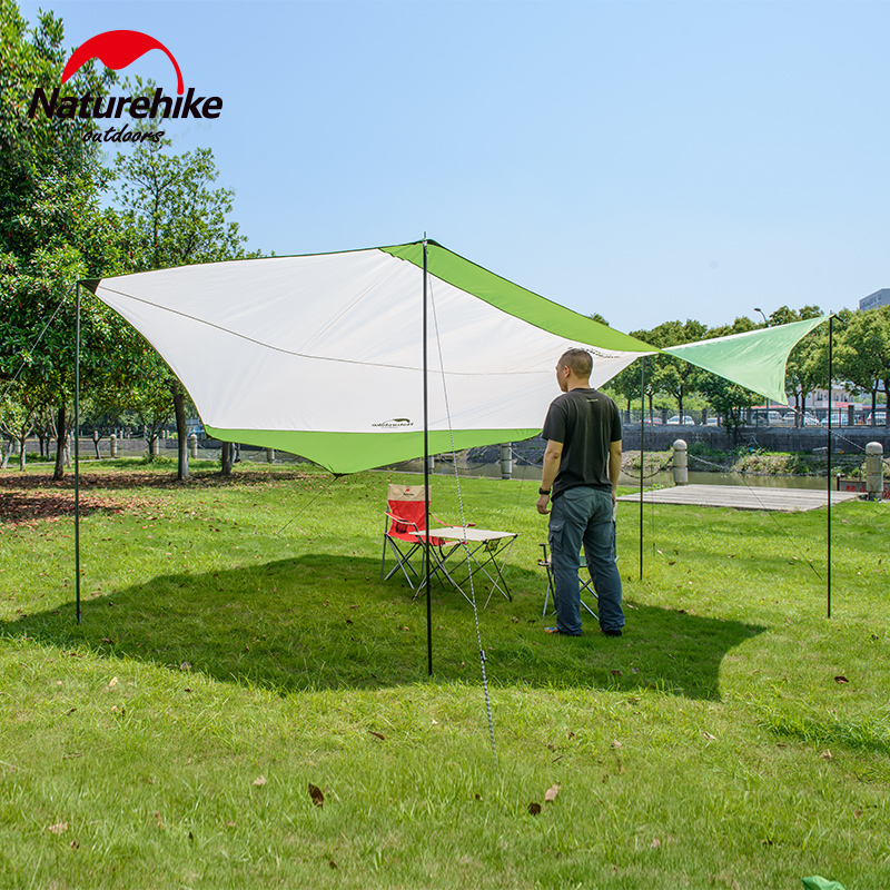 Naturehike outdoor Sun Shelter Camping awning Waterproof Pergola Awning Canopy iron poles beach tent sun shelter NH large outdoor camping pergola beach party sun awning tent folding waterproof 8 person gazebo canopy camping equipment