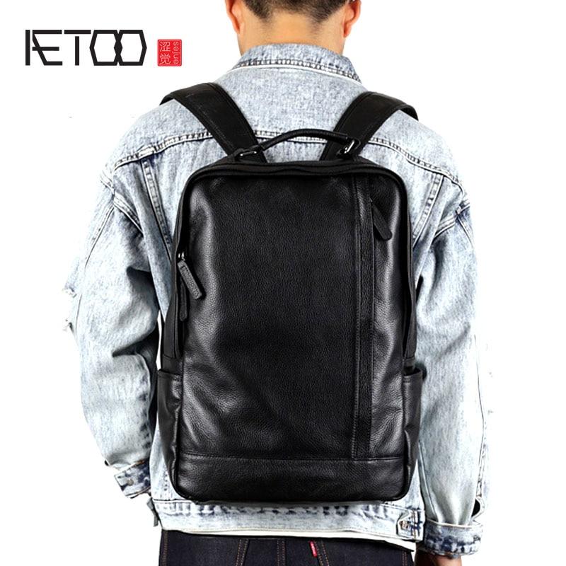 AETOO Leather men's shoulder bag head layer leather Korean leisure travel backpack trend simple business computer bag