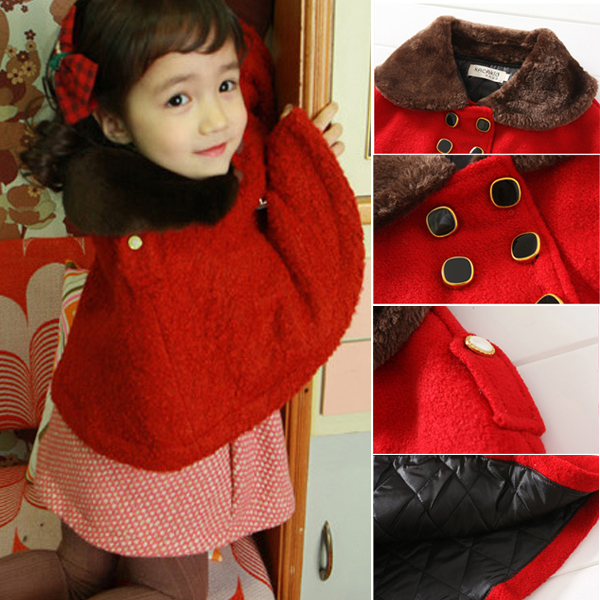 d076eb962 0 3Y Chilren Kid Girls Lapel Collar Woolen Cloak Cape Red Coat ...