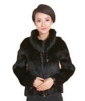 New female fur coat mink braided jacket high collar mink coat lapel jacket