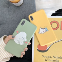 Cute Animal Phone Case For iPhone 6 6S 7 7Plus 8 8Plus X XS Max Words Patterned Plastic Cover Coque