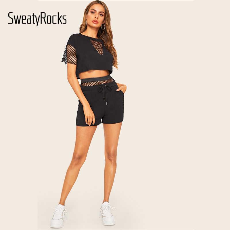 Sweatyrocks Hitam Memancing Net Panel Tee dengan Tali Pinggang Celana Pendek Musim Panas Wanita Seksi Dua Sepotong Set Aktif Memakai 2 Buah set
