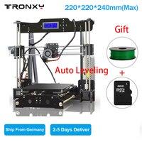 Tronxy 3d принтер с подогревом кровать автоматическое выравнивание DIY 3d Принтер Комплект Высокая точность 8 г sd карта и 1 рулон нити как подарки Б