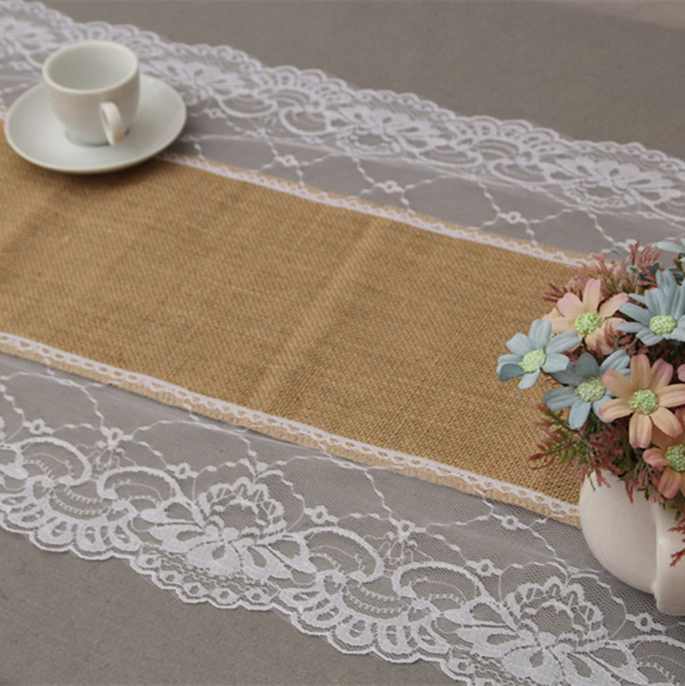 Christmas Decor 14x108 Natural Brown Burlap Table Runner With Lace  35cm*274cm AA7880