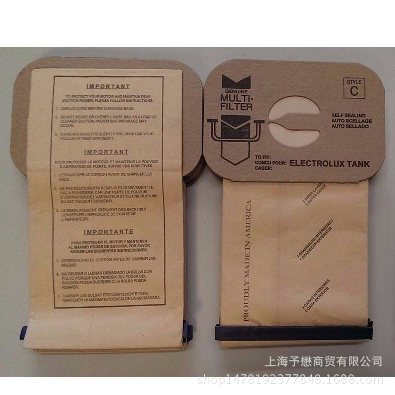 20 Bags for Electrolux Canister Vacuum Cleaner Style C 4 Ply DVC Bag electrolux es 53 4 bags 1mf