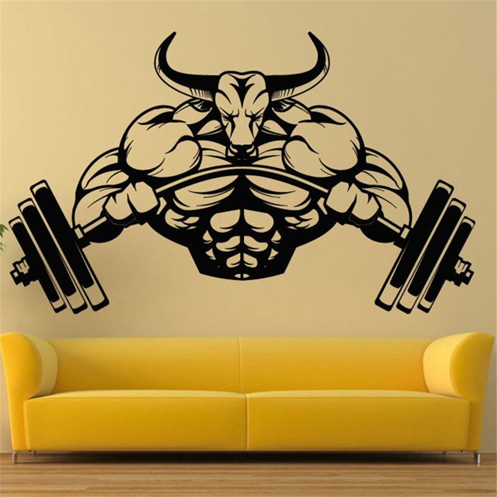 Gym Sticker Fitness Bodybuilding Posters Muscle Dumbbell Vinyl ...