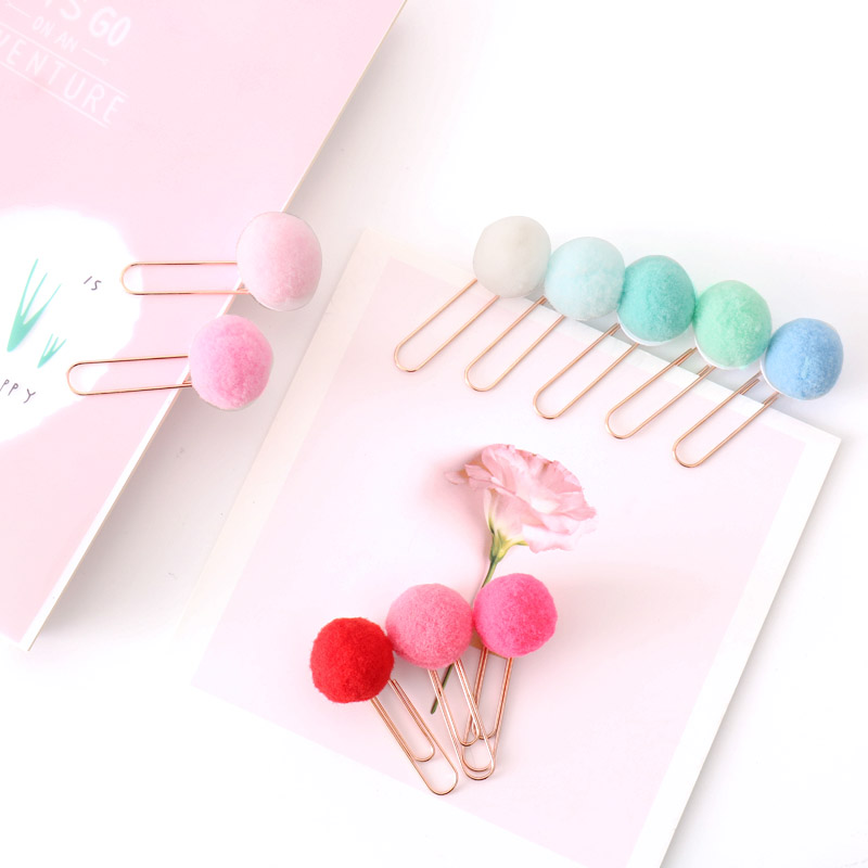 10pcs/set Metal Material Cute Paper Clips Colorful Hairball Cilp Binder Clips Books Tickets Stationery Escolar Papelaria Gift