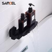 Creative Design Brass Bathtub Waterfall Faucets Mixers Dual Handle Black Wall Mount Bath Tub Water Taps BF1024