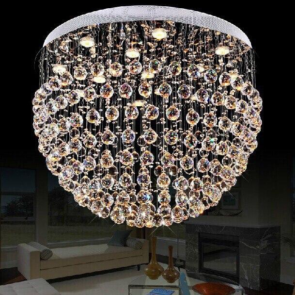 Dia80 * h55cm Оптовые современные шар сфере Дизайн большая Хрустальная люстра для Гостиная Блеск Главная Освещение