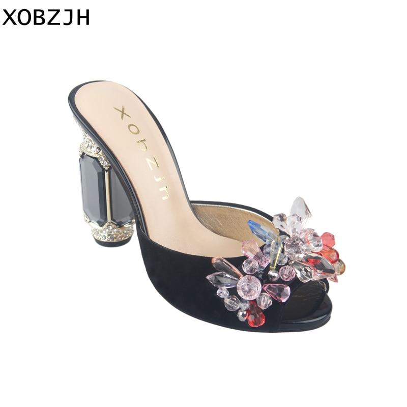 Rhinestones Sandals Women High Heels 2019 Designer Brand Summer Shoes Glass heel Luxury party Sandals Shoes Woman Plus size 11