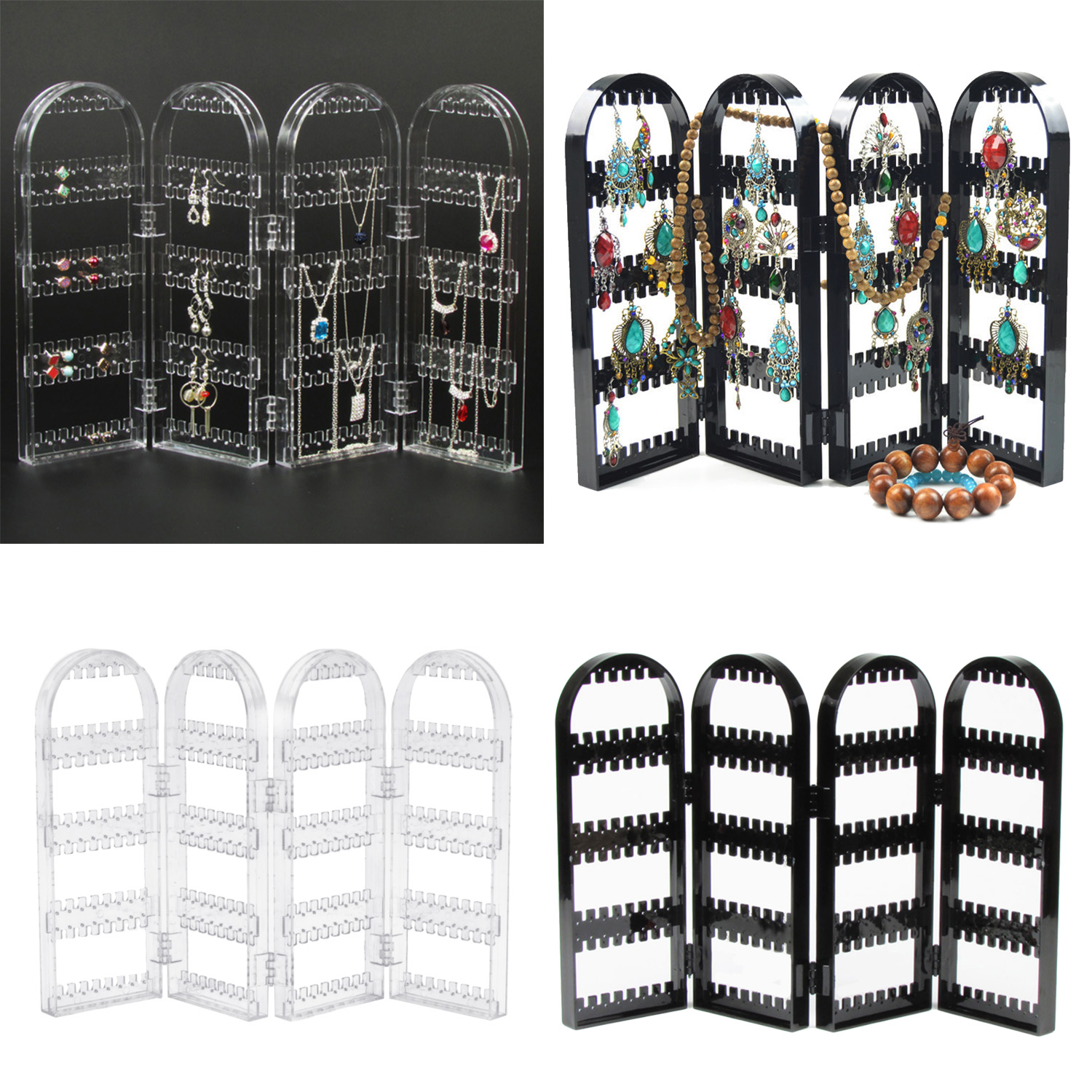 Plastic Jewellery Earrings Display Organizer 4-Panel 240 Holes Foldable Stand Holder Store Window Mall Home Display Organizer