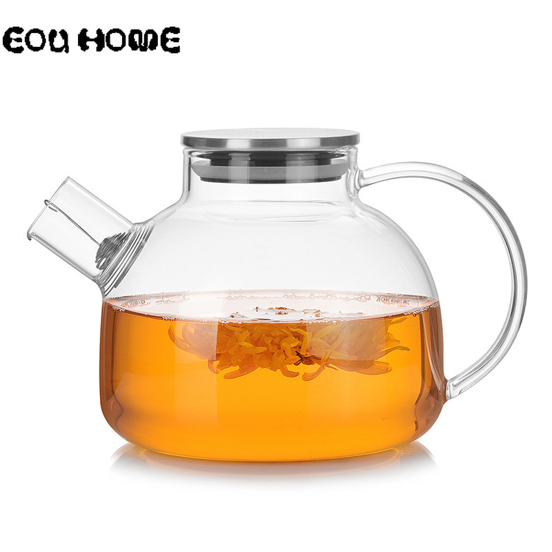 1000ml/1800ml Glass Teapots Heat Resistant Kettle Cold Water Jug With Stainless Steel Lid Kung Fu Tea Set Clear Juice Container