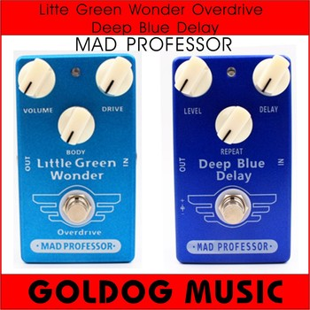Alta calidad clon Mad Professor Deep Blue Delay y Little Green Wonder Overdrive guitarra efecto Pedal y Bypass verdadero