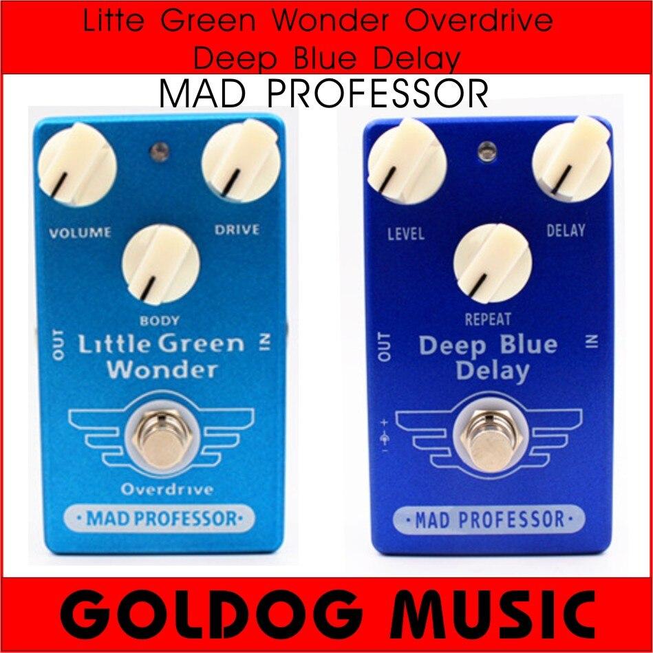 Haute Qualité Clone Professeur Fou Deep Blue Retard Et Peu Vert Me Demande Overdrive Guitare Pédale D'effet Et True Bypass