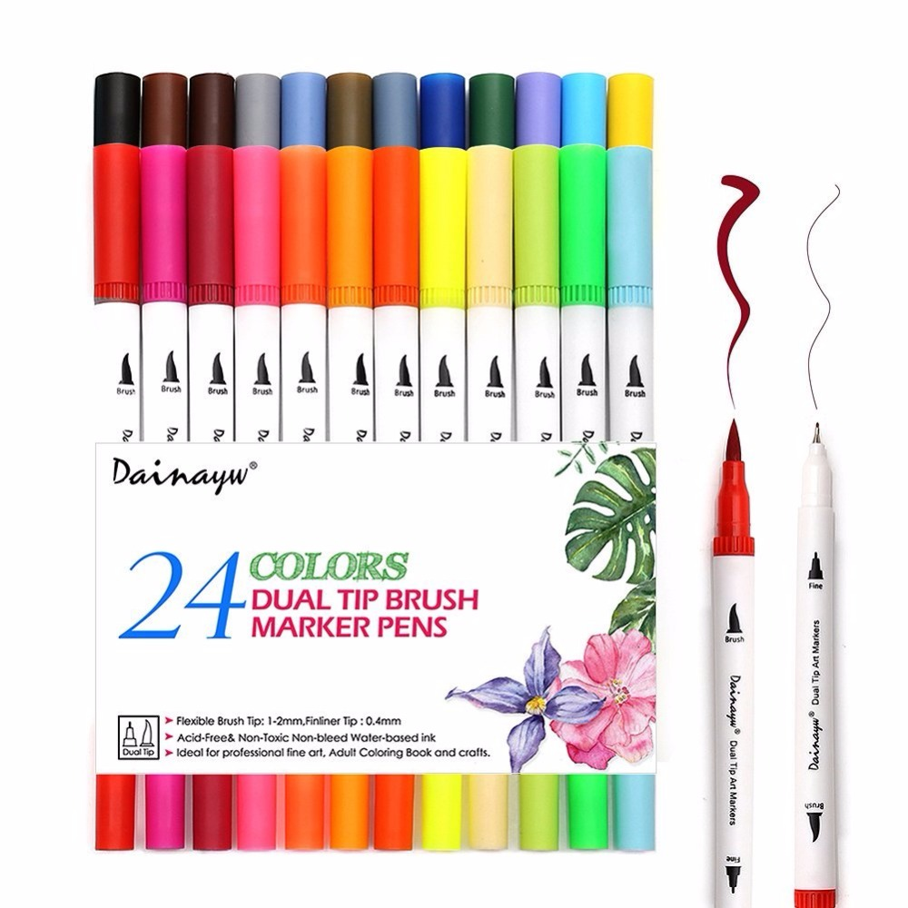 Dual Brush Pen Art Marker Fineliner Fibre Tip 0.4 Fine Point Sketch Drawing G