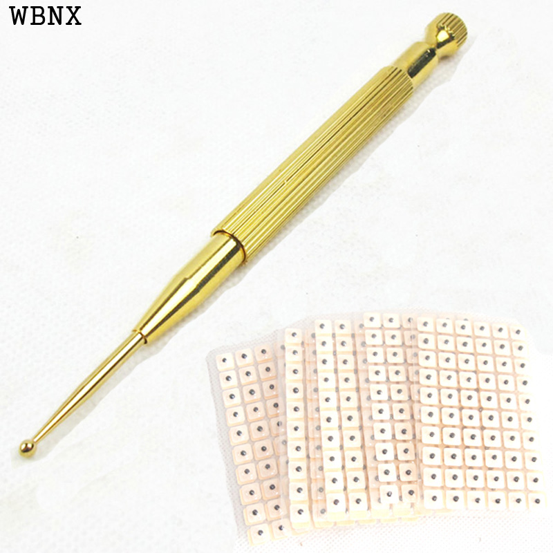Ear acupoint detection spring microprobe elastic pen+600 ear seeds retractable multipurpose flexible acupunture pen pure brass elastic ear acupuncture points needle acupoint detector pen auricular ears massager stick reflex for ear press seeds