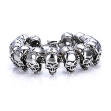 High Quality jewelry New Cool Punk punk skull Bracelet for Man 316 Stainless Steel Man's bracelet