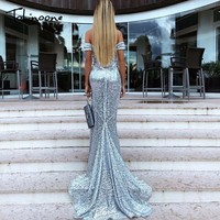 Tobinoone Strapless Sequin Dress 2018 Women's Maxi Dresses Slim Elegant Fit and Flare Formal Long Dresses Prom Party Dress