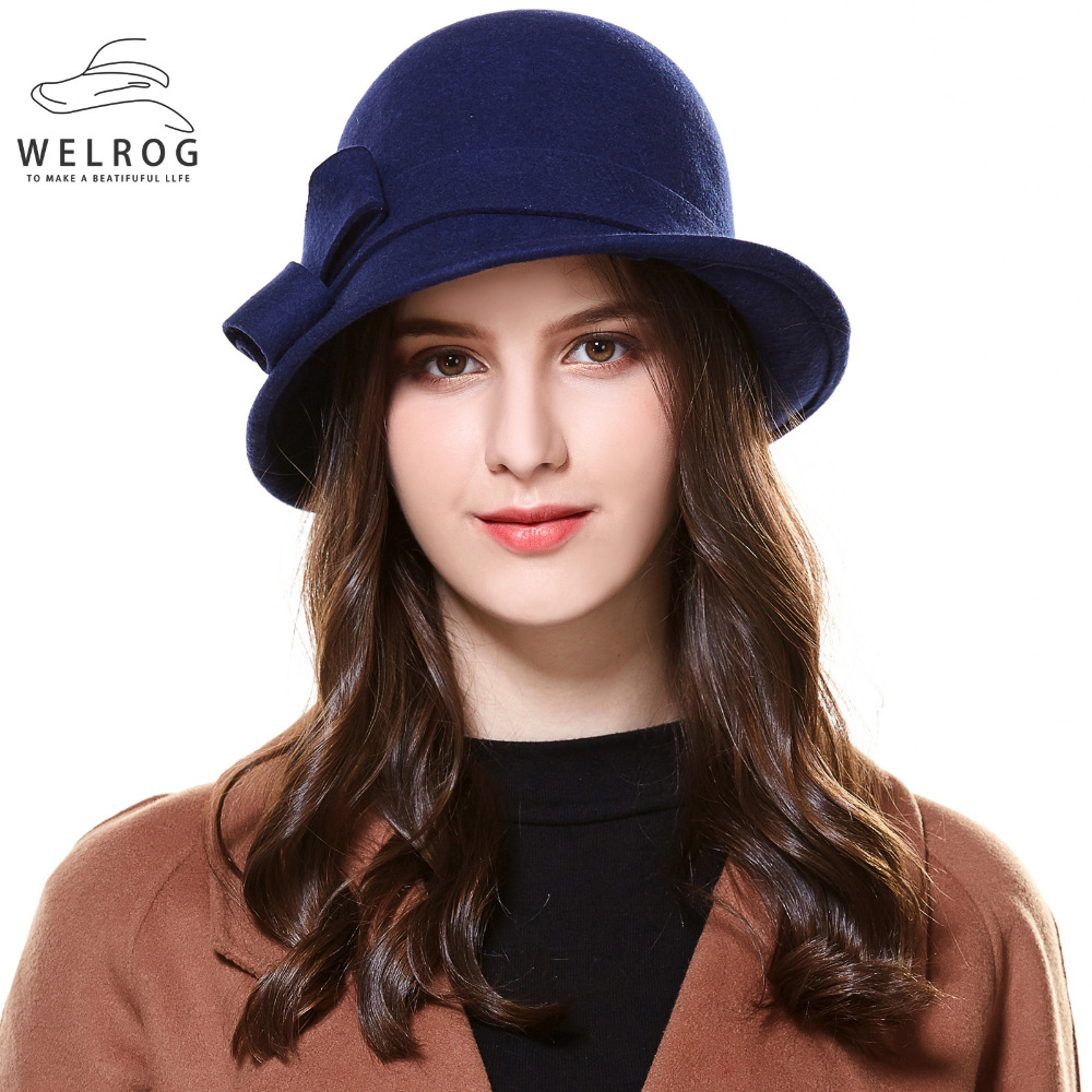d8372a5b0cac9 WELROG Vintage Khaki Wool Felt Cloche Hat With Bowknot Wide Brim Bowler  Winter Fedoras Ladies Navy