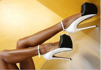 Sexy 14cm Stiletto High Heels Dress ShoeS Woman Mixed Color Sheepskin Pumps Female Ankle Strap Party Shoes Buckle Strap Shoes