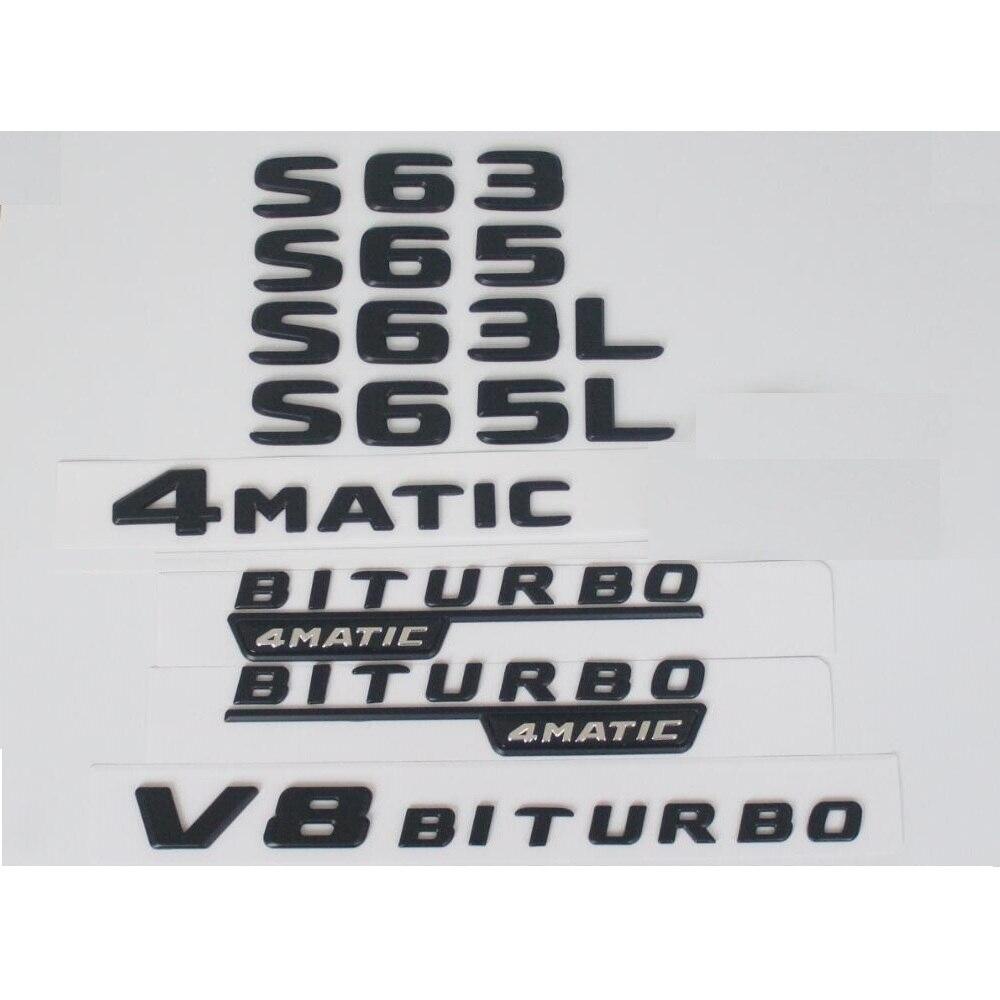 Flache Matte Schwarz Stamm Buchstaben Abzeichen Abzeichen Emblem Embleme Aufkleber für Mercedes Benz S63 S63L S65 S65L V8 BITURBO 4 MATIC AMG
