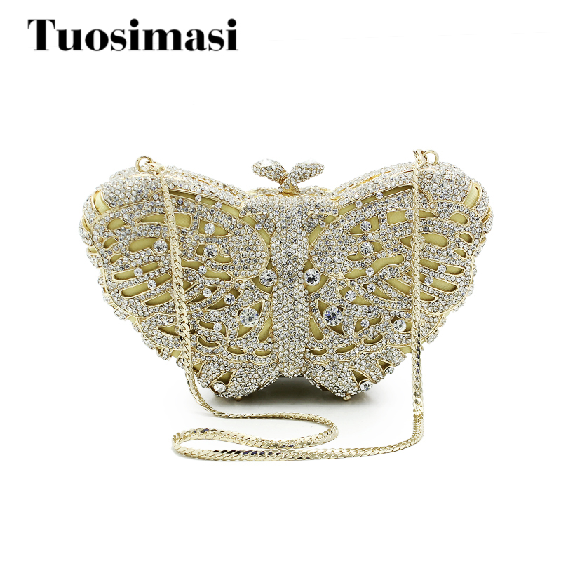 Luxury Crystal Evening Gold Bag butterfly Diamond Clutch Women Evening Handbag Wedding Party Purse Bling Banquet Bag (8636A-S) 7 color oval gold ab silver pink luxury crystal evening bag party clutch purse women wedding handcraft banquet bag customized