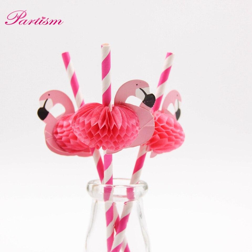 10PCS Flamingo Straw 3D Straw Bendy Flexible paper Drinking Straws ...
