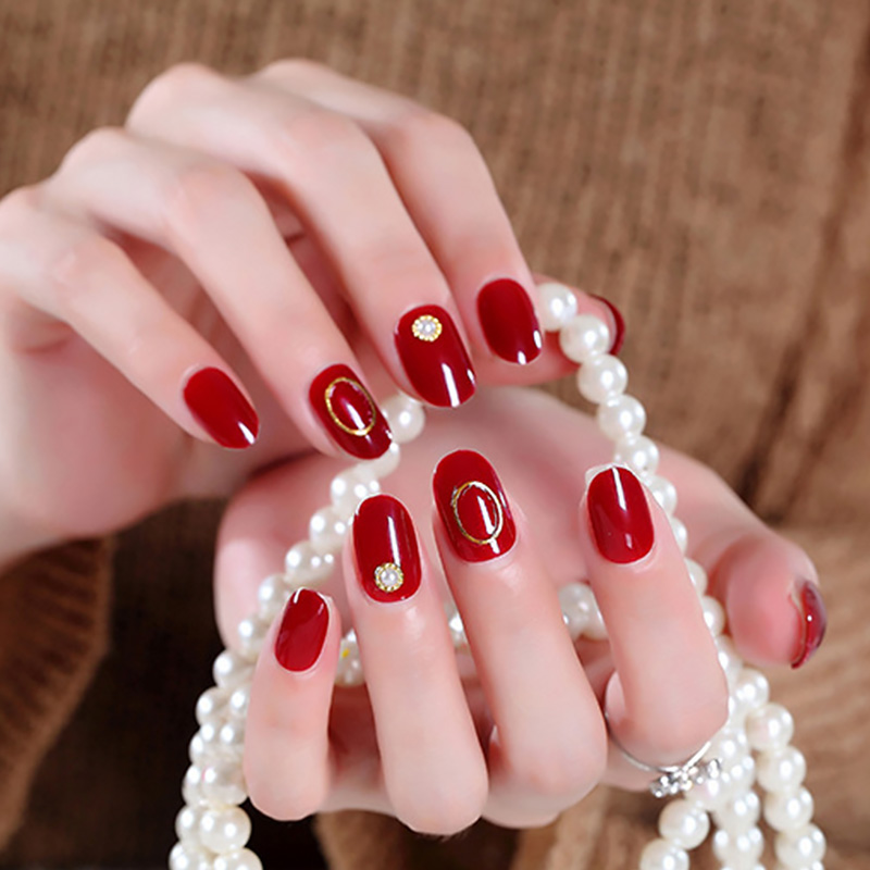 Women Round Head Sand Color Fake Nails Girls Summer Holiday Fashion Hollow Circle Gold Beads Full Cover Nail Art Tips With Glue False Nails