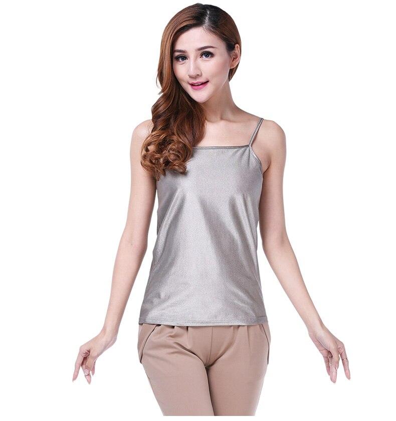 Vêtements de protection contre les rayonnements EMF de stérilisation en fibre d'argent, haut à licou pour dames, vêtements d'été pour dames.