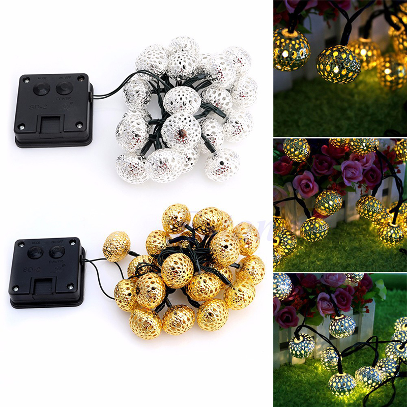 Solar String Lights 20 LED Fairy Moroccan Ball Lighting for Indoor/Outdoor Home Garden Party Holiday Decorations