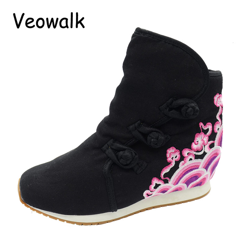 Veowalk Winter Warm Fur Women Short Ankle Boots Cotton Embroidered Ladies Casual Canvas 5cm Heels Wedge Platform Booties Shoes