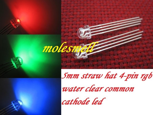 1000pcs 5mm Straw Hat 4 Pin Tri Color RGB Common cathode Red Green Blue LED Leds free shipping