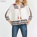 2016 Женщины Этническая Вышивка Блузки Цветочный Принт Рубашка Старинные Свободно Случайные Белье Кардиган Куртки Солнцезащитный Крем
