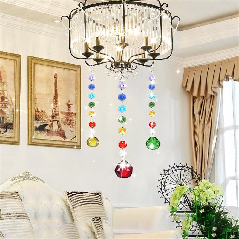 Crystal Lighting Color Crystal Ball Pendant Color Octagonal Beads Clear Lighting Ball Bead Suncatcher Crystal Pendants Prisms