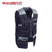 Male Workshop Workwear Work Tool Vests Multifunction Multi Pockets Photographer Carpenter Mechanic Work Wear Tops(China)
