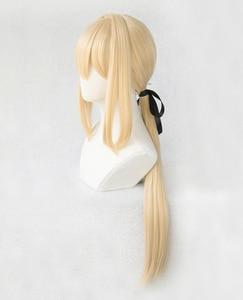 Image 5 - Violet Evergarden Ponytail Braid Buns Blonde Hair Heat Resistant Cosplay Costume Wig + Wig Cap + Ribbon