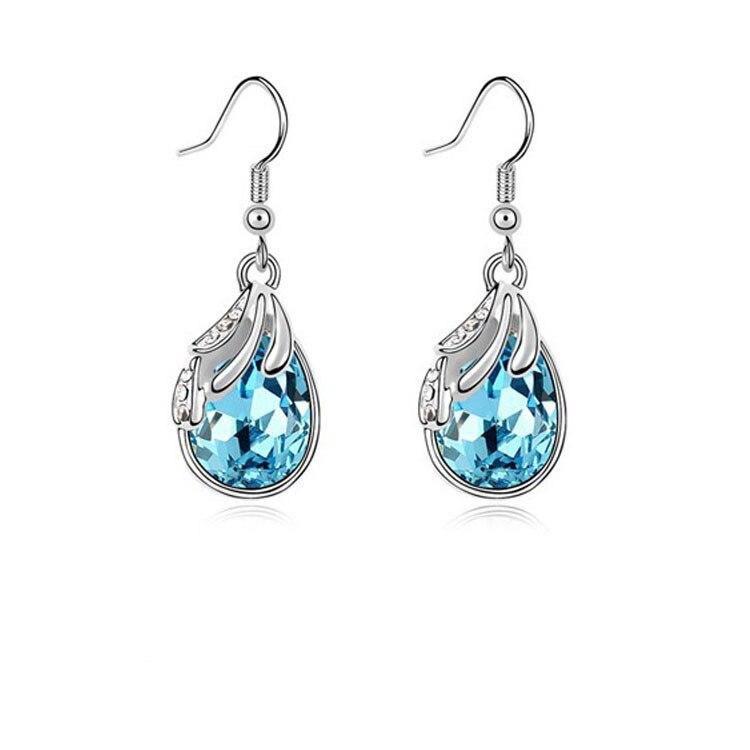 Silver Water Drop Earrings White Women Pendientes Nickel Free Brincos De Prata 1