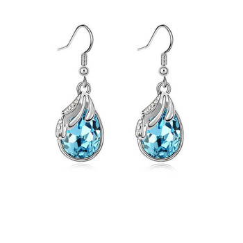 Silver Water Drop Earrings White Women Pendientes Nickel Free Brincos De Prata 1