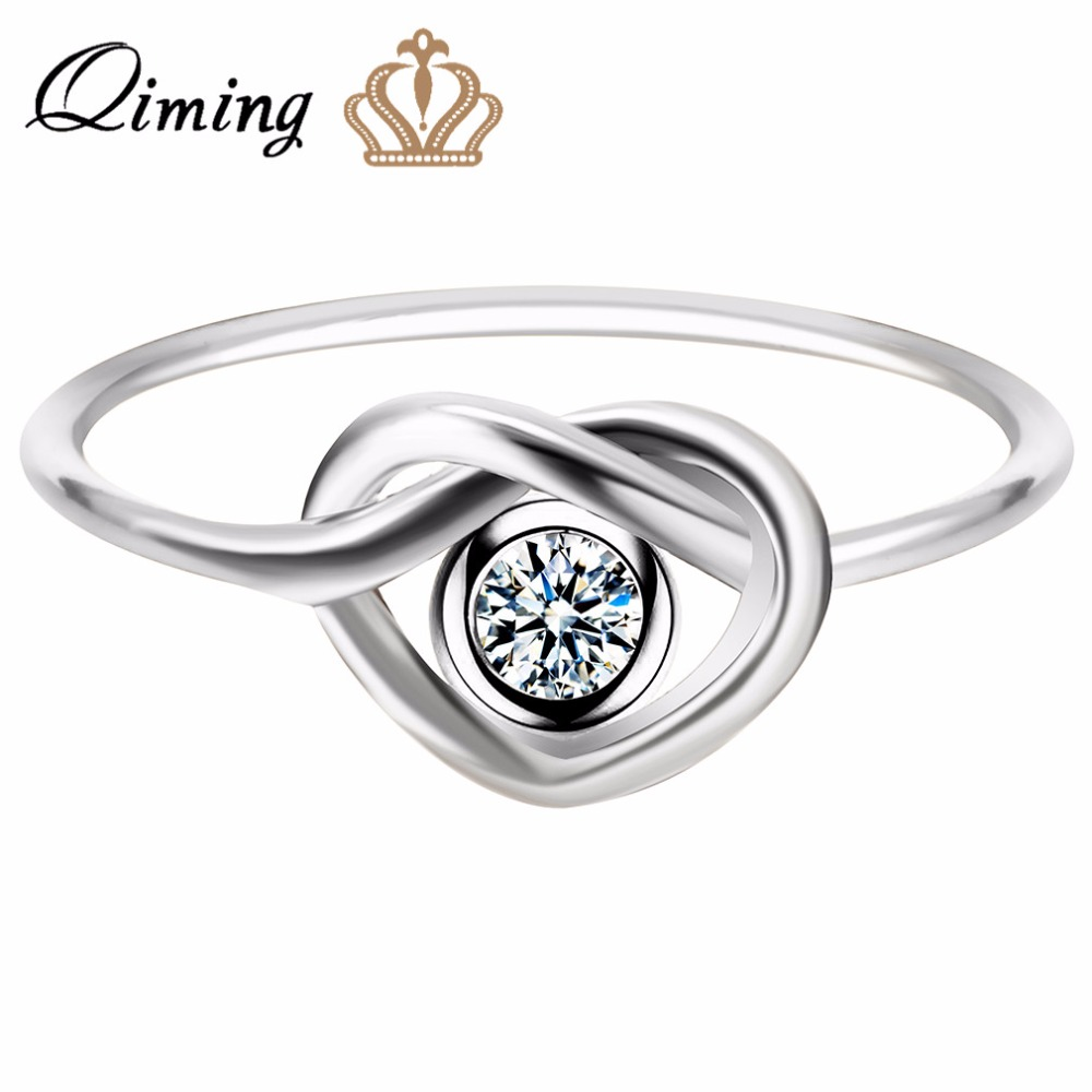 Qiming Wholesale Jewelry Engagement Ring Valentine's Day Sweet Gift Elegant  Love Knot Women G Ring For