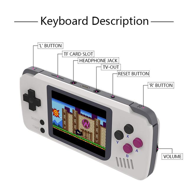 PocketGo, Retro Game Console, Handheld game players,Video game console.  Portable Mini Handheld Console,1000mAh Battery
