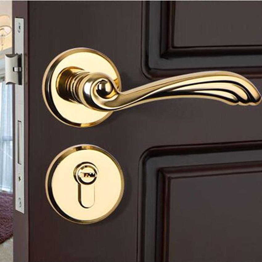 modern Fashion golden mechanical mute split lock gold black bedroom kitchen bookroom solid wooden handles locks zinc alloy lock цена