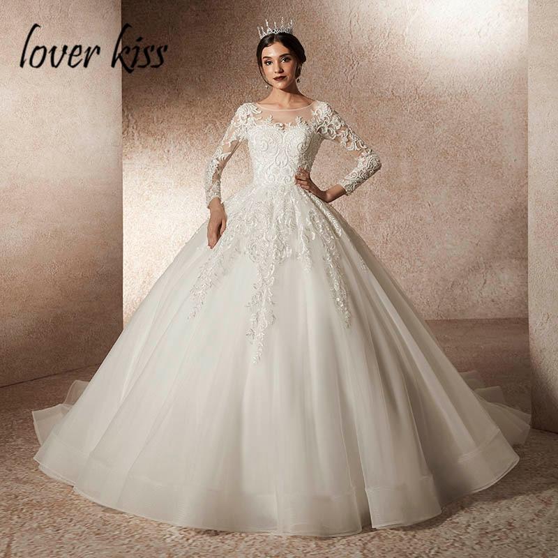 amante beso vestidos novias boda 2019 con reborde manga larga encaje