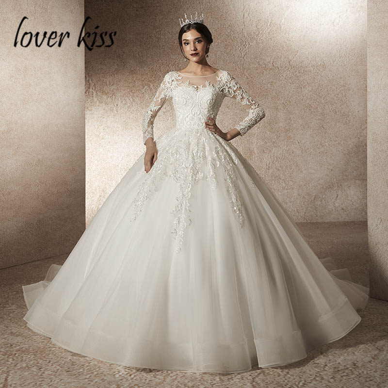 Amoureux baiser vestidos novias boda 2019 perlée dentelle manches longues robes de mariée princesse modèle Design robes de mariée Abiti Da Sposa