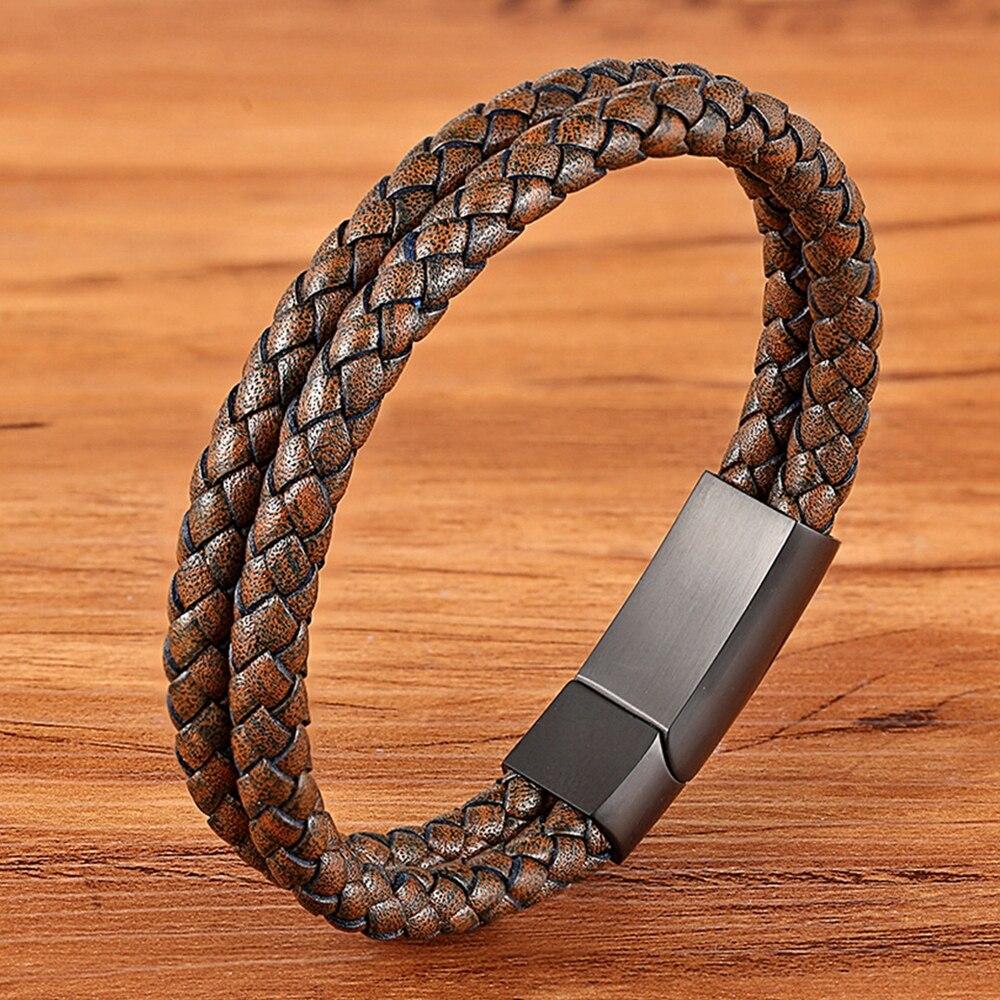 TYO Fashion Matte Stainless Steel Black Magnet Buckle Khaki Double Layer Braided Bracelet Leather Men's Woman Drop Shipping