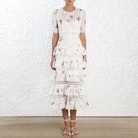 100% хлопок модный принт короткий рукав Высокая талия многослойное средней длины торт платье женская